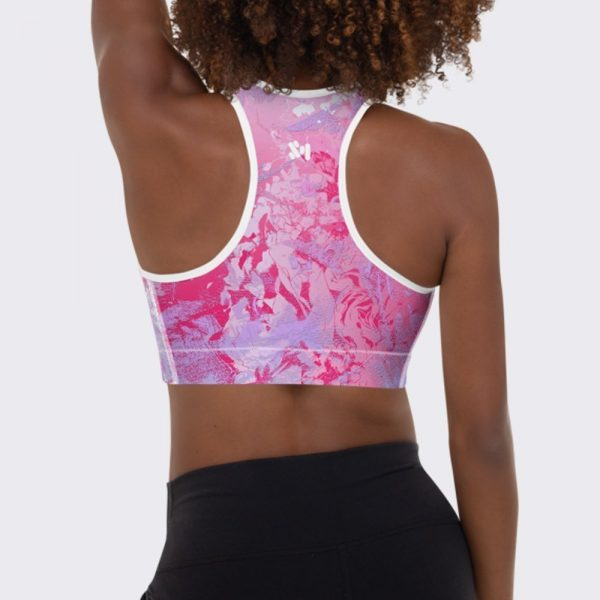 Pink Bubble Gum Sports Bra by Sania Marie